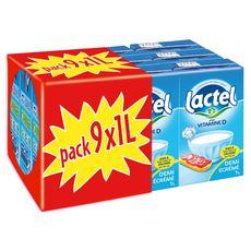 LACTEL Lait demi-écrémé vitamine D 9x1l