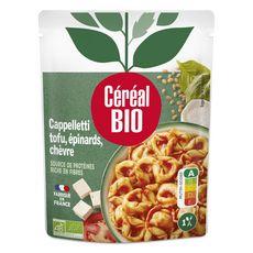 CÉRÉAL BIO Cappelletti chèvre tofu épinards sauce tomate cuisinée sans viande en poche 1 personne 220g