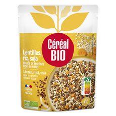 CÉRÉAL BIO Lentilles riz et soja cuisinés sans viande sans conservateur en poche 1 personne 250g