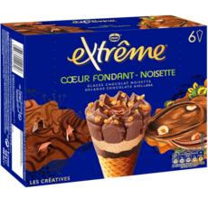 EXTREME Cône glacé cœur fondant chocolat noisettes 6 pièces 426g