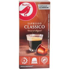 AUCHAN Capsules de café espresso classico intensité 8 compatible Nespresso 10 capsules 52g