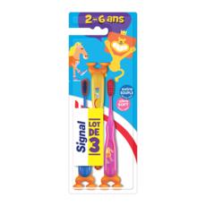 SIGNAL Brosses à dents extra souple pour enfants 2-6 ans 3 brosses