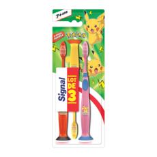 SIGNAL Brosses à dents extra souple pour enfants 7 ans+ Pokémon 3 brosses