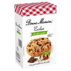 BONNE MAMAN Cookies aux pépites de chocolats et noisettes, sachets fraîcheur 9 sachets 250g