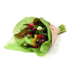 Fleurs - Bouquet de 20 tulipes arlequin + plume 1 bouquet