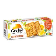 GERBLE Biscuits pavot citron sans huile de palme moins de sucres sachets fraîcheur 4x4 biscuits 200g