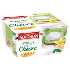 SOIGNON Yaourt saveur vanille au lait de chèvre 4x125g 4x125g