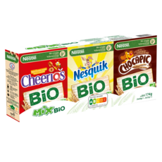 NESTLE Mix bio assortiment de mini boites de céréales Nesquik-Chocapic-Cheerios 6 boites 174g
