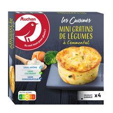 AUCHAN Mini gratin aux légumes crème fraîche et emmental 4 pièces 480g