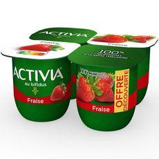 ACTIVIA Yaourt au bifidus saveur fraise 4x125g