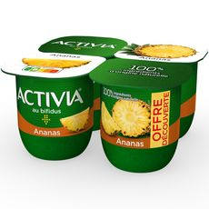 ACTIVIA Yaourt au bifidus saveur ananas 4x125g