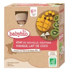 BABYBIO Gourde dessert kiwi mangue coco bio dès 6 mois 4x90g