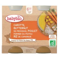 BABYBIO Petit pot carotte courge butternut poulet riz bio dès 6 mois 2x200g