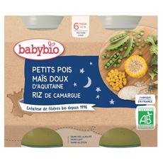 BABYBIO Petit pot petits pois maïs doux riz bio dès 6 mois 2x200g