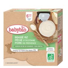 Babybio BABYBIO 100% végétal Gourde brassé riz, pêche et poire bio dès 6 mois