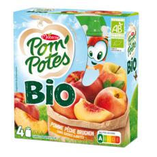 POM'POTES Gourdes Compote pomme pêche brugnon bio 4x90g