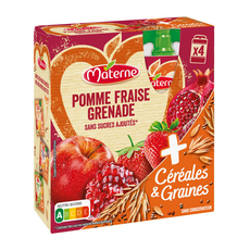 MATERNE Dessert gourdes céréales graines pomme fraise sans sucres ajoutés 4x90g