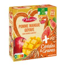 MATERNE Dessert gourdes pomme mangue goyave gourdes sans sucre ajouté 4x90g