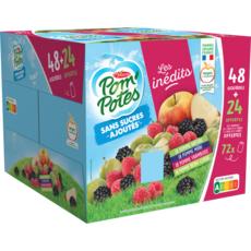 POM'POTES Gourdes de pommes nature pomme mûre pomme framboise pomme reine-claude sans sucres ajoutés 48+24 offertes 6.48kg