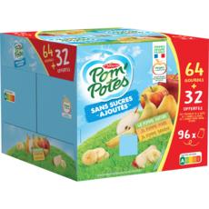 POM'POTES Gourdes compote pomme nature pomme poire pomme banane 64 gourdes +32 offertes