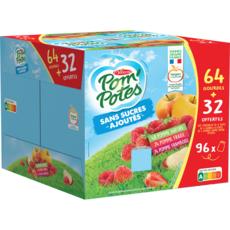 POM'POTES Spécialité de pomme sans sucres ajoutés 64 gourdes + 32 offertes