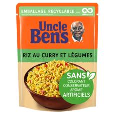 UNCLE BEN'S Riz curry et légumes sachet recyclable prêt en 2 min 1 personne 250g