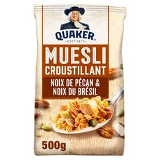 QUAKER Muesli de céréales croustillant noix de pécan et noix du Brésil 500g