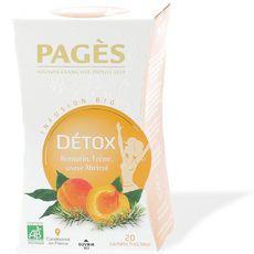 PAGES Infusion détox romarin frêne abricot bio 20 sachets 30g