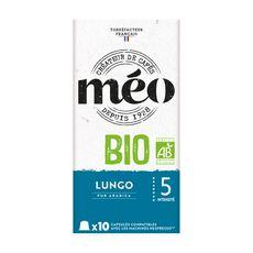 MEO Capsules de café bio lungo compatibles Nespresso 10 capsules 50g