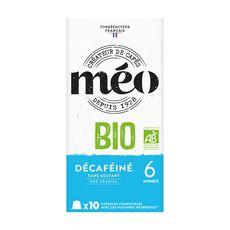 MEO Capsules de café décaféiné bio compatibles Nespresso 10 capsules 53g