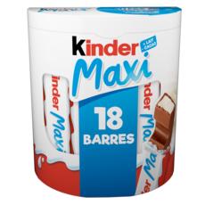 KINDER Maxi barres de chocolat 18 batônnets 380g