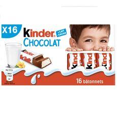 KINDER Barres chocolatées fourrées au lait 16 barres 200g