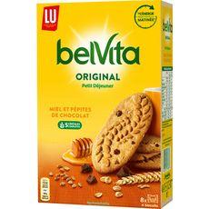 BELVITA Biscuits petit-déjeuner miel et pépites de chocolat, sachets fraîcheur 8x4 biscuits 435g