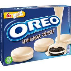 OREO Biscuit original nappé de chocolat blanc, sachets fraîcheur 6x2 biscuits 246g