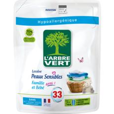 L'ARBRE VERT Lessive hypoallergénique famille et bébé 33 lavages 1,5l