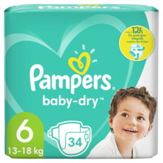 PAMPERS Baby-dry couches taille 6 (13-18kg) 34 couches
