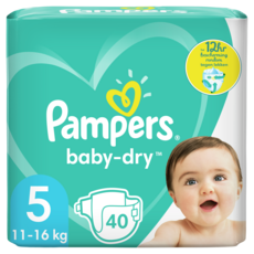 PAMPERS Baby-dry couches taille 5 (11 à 16kg) 40 couches