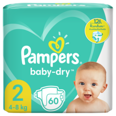 PAMPERS Baby-dry Couches taille 2 (4-8kg) 60 couches