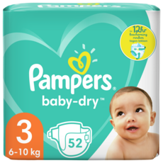 PAMPERS Baby-dry couches taille 3 (6-10kg) 52 couches