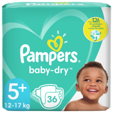 PAMPERS Baby-dry Couches taille 5+ (12-17kg) 36 culottes