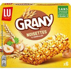 GRANY Barres de céréales aux noisettes et 5 céréales 6 barres 125g