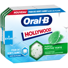HOLLYWOOD Oral-B Chewing-gum menthe verte au fluor sans sucres 3 étuis de 10