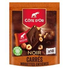 COTE D'OR Carrés de chocolat noir aux noisettes entières 10 pièces 200g