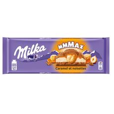 MILKA Mmmax Tablette de chocolat au lait fourré caramel et noisettes 300g
