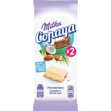 MILKA Copaya tablette de chocolat blanc amandes noix de coco 2x90g