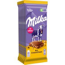 MILKA Tablettes de chocolat au lait riz croustillant 6 tablettes 600g