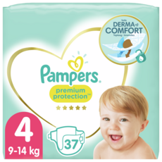 PAMPERS Premium protection couches taille 4 (9 -4kg) 37 couches