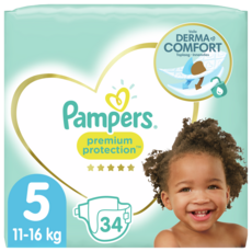 PAMPERS Premium protection couches taille 5 (11-16kg) 34 couches