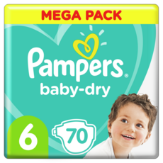 PAMPERS Baby-dry Couches taille 6 (13 à 18kg) 70 couches