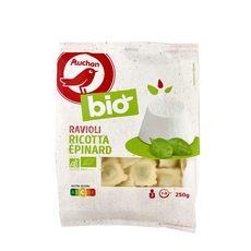 AUCHAN BIO Ravioli ricotta et épinards 2 portions 250g